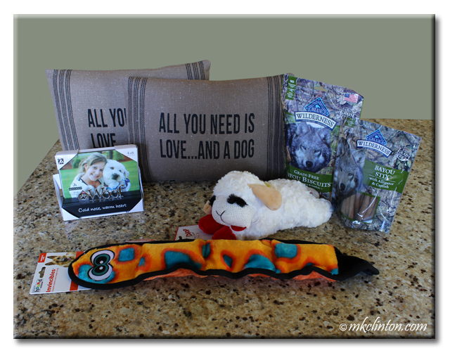 Dog toys, pillows, treats and frame