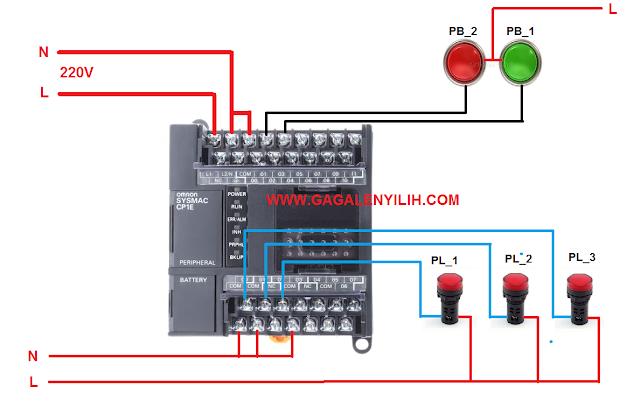 Contoh Program PLC Omron - 3 Lampu Nyala Mati Berurutan
