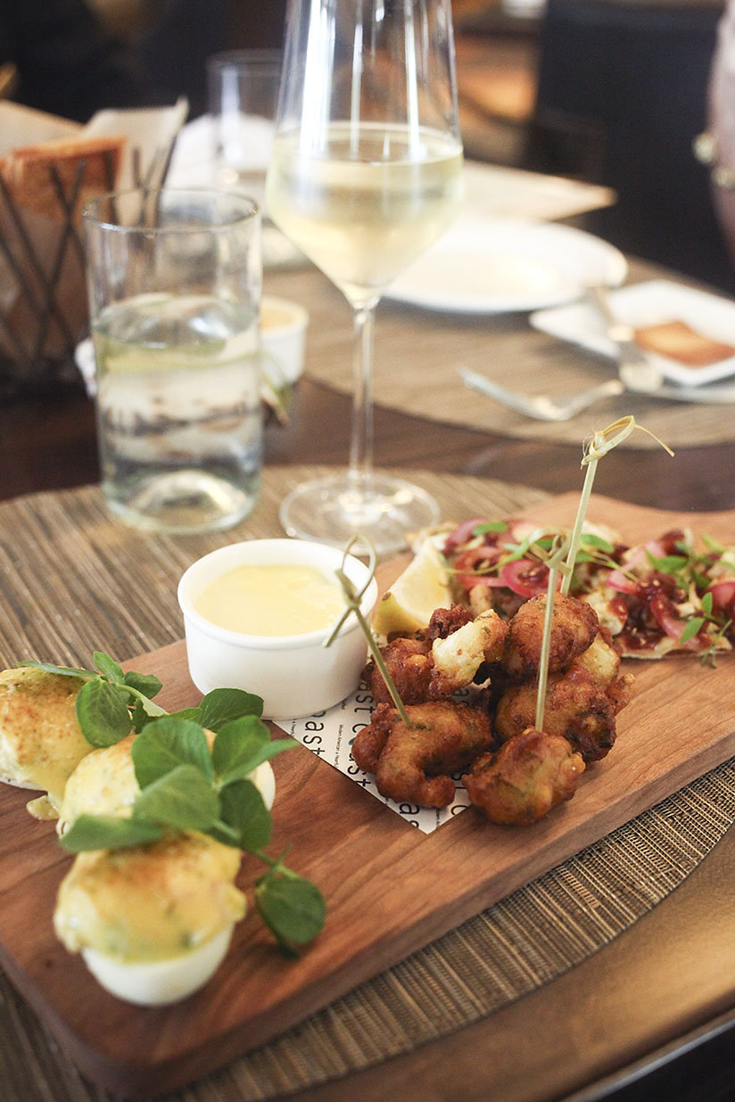 deviled eggs, and shrimp fritters from Coast at the Ritz-Carlton, Amelia Island