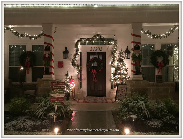 Christmas Front Porch Decorations-Farmhouse Porch-Christmas Lights-Nutcrackers-From My Front Porch To Yours