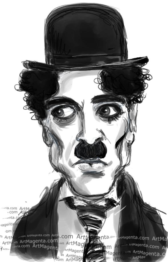 Charlie Chaplin caricature cartoon. Portrait drawing by caricaturist Artmagenta