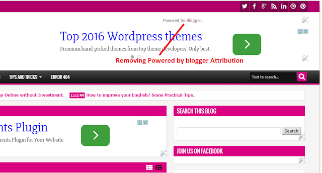 How to remove top right powered by blogger attribution web4newbies.com