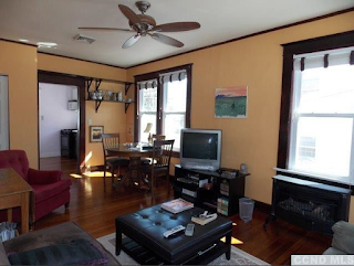 living room and bedroom of red house for sale at 6658 Chester Ave Stottville NY