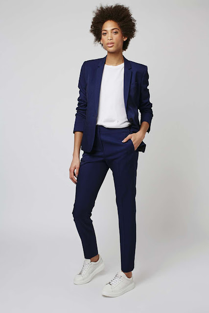 topshop navy suit, luxe navy ladies suit, navy smart ladies blazer and trousers,