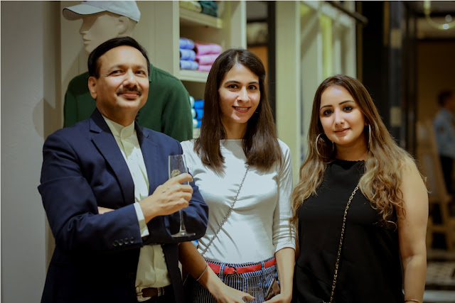 Tarini Nirula, celeb stylist Ruby Bhatia with a guest at Fall Winter Collection Launch by La Martina