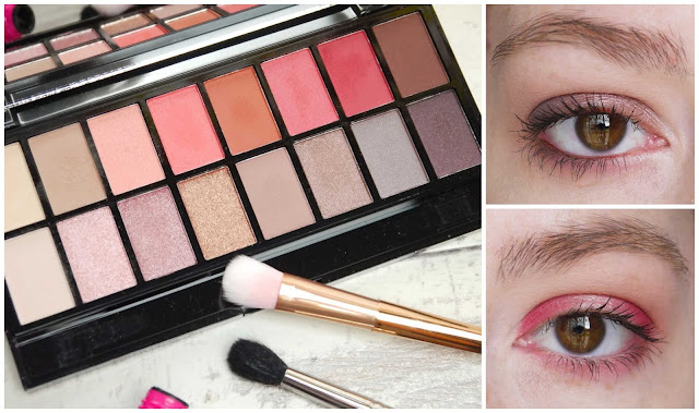 a palette containing pinks, reds, browns, and greys on the left, and photographs of pink eyeshadow and brown eyeshadow on a brown eye on the right