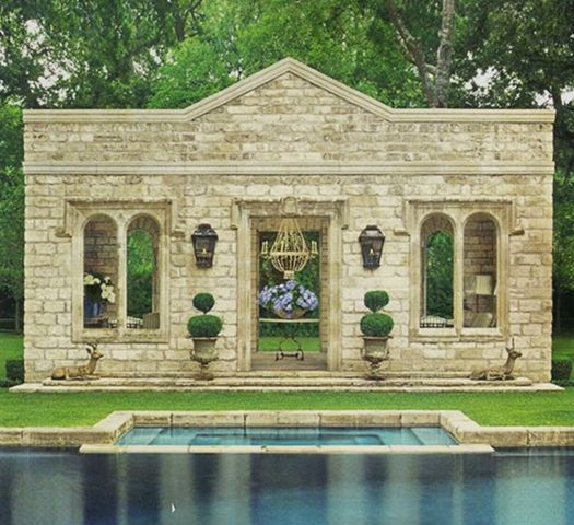Magnificent stone pool house constructed with reclaimed ancient stone in Houston - design by Pamela Pierce. #oldworldstyle #frenchcountry #frenchstone #pamelapierce