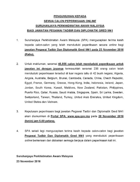 Statistik calon yang menjawab Peperiksaan Online Jawatan Pegawai Tadbir dan Diplomatik (PTD) M41 November 2016
