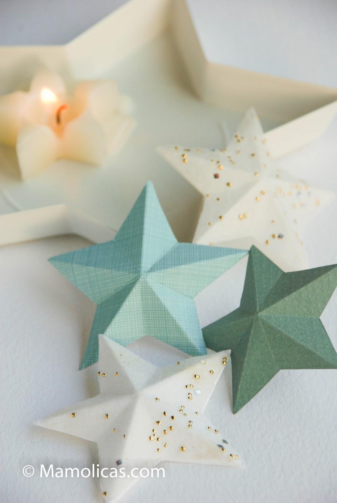 Mamolicas decoraci n navidad diy estrellas navidad de papel - Decoracion navidad papel ...