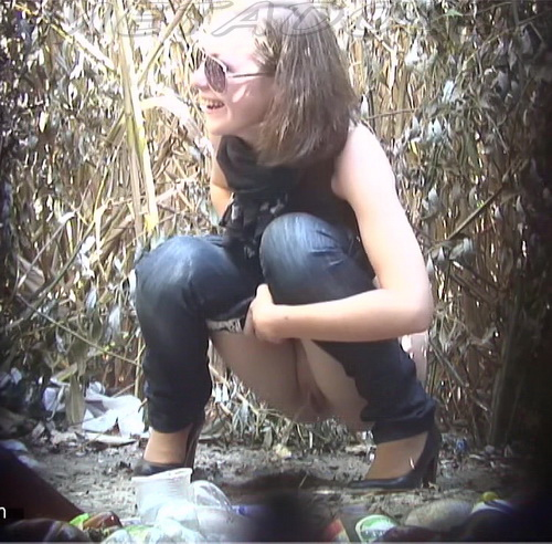 PissHunters 8962-8978 (Girls pee outdoors hidden camera. Hidden cam in public toilet)