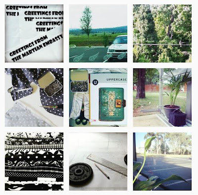 Selection of nine Instagram photos in colours of black white, green and seafoam.