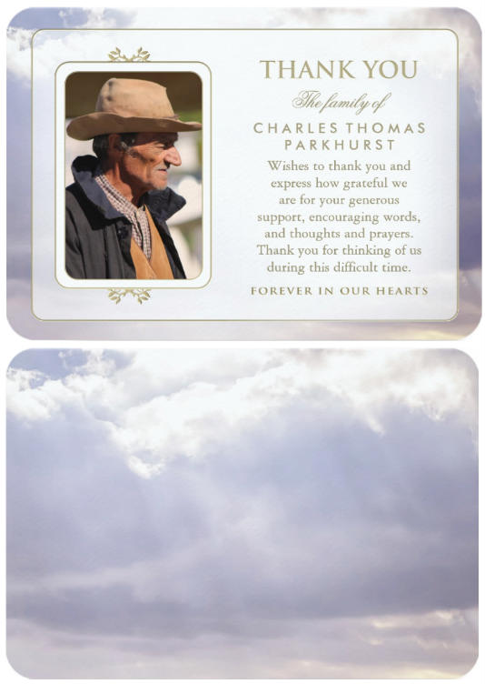 peaceful clouds forever in our hearts sympathy thank you card front and back