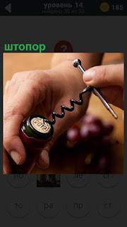 мужчина штопором открывает бутылку вина, закручивая его в пробку