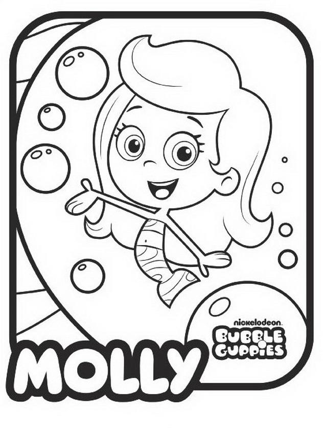 Bubble Guppies Drawings Molly Coloring Child Coloring