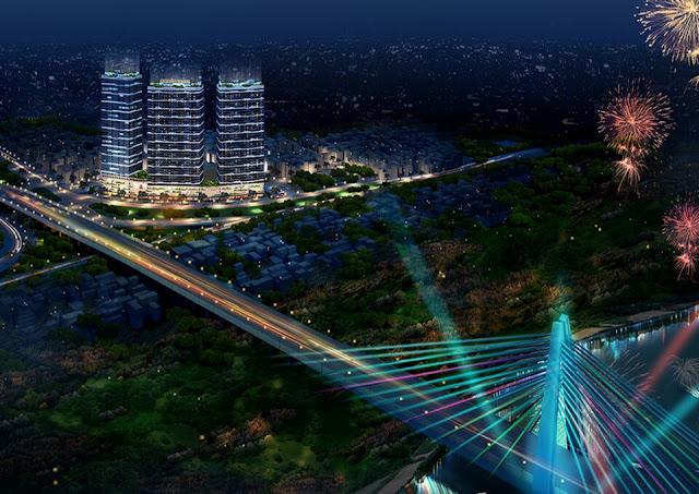 Phối cảnh dự án Intracom Riverside nhìn từ phía cầu Nhật Tân