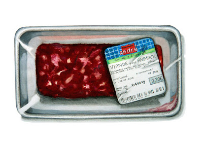 """barquette avec l'étiquette """"viande pour animaux"""""""