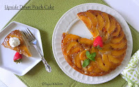 Upside Down Low Fat, Egg less Peach Cake