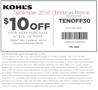Kohls coupons december 2016