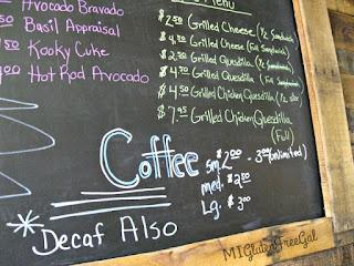 Sambuca Cafe Vassar Coffee menu board