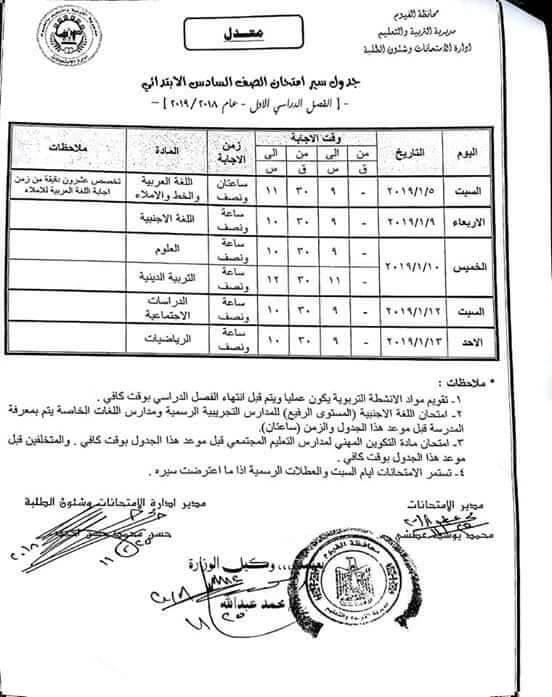 جدول إمتحانات الصف السادس الابتدائي 2019 ترم أول محافظة الفيوم