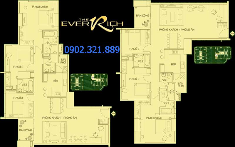 layout căn hộ the everrich 3 phòng ngủ tháp 1