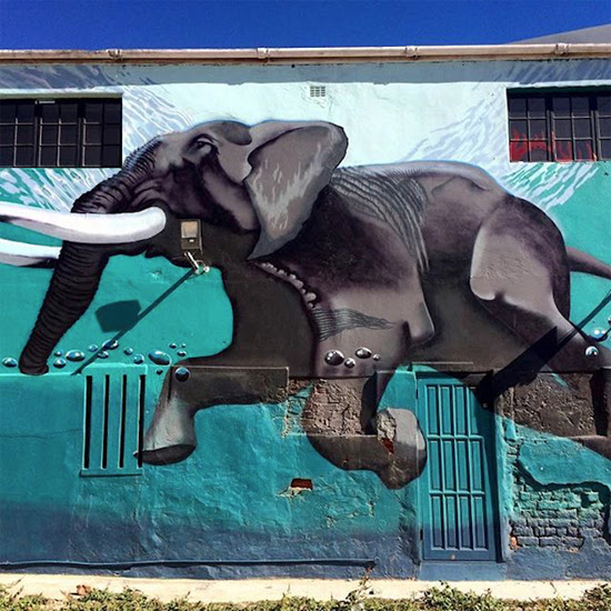 Safari Fusion blog >< African street art | Elephant mural on the corner of Frere Street and Albert Road Woodstock, Cape Town South Africa