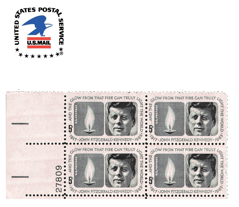 USPS emblem and JFK memorial Stamp by Raymond Loewy