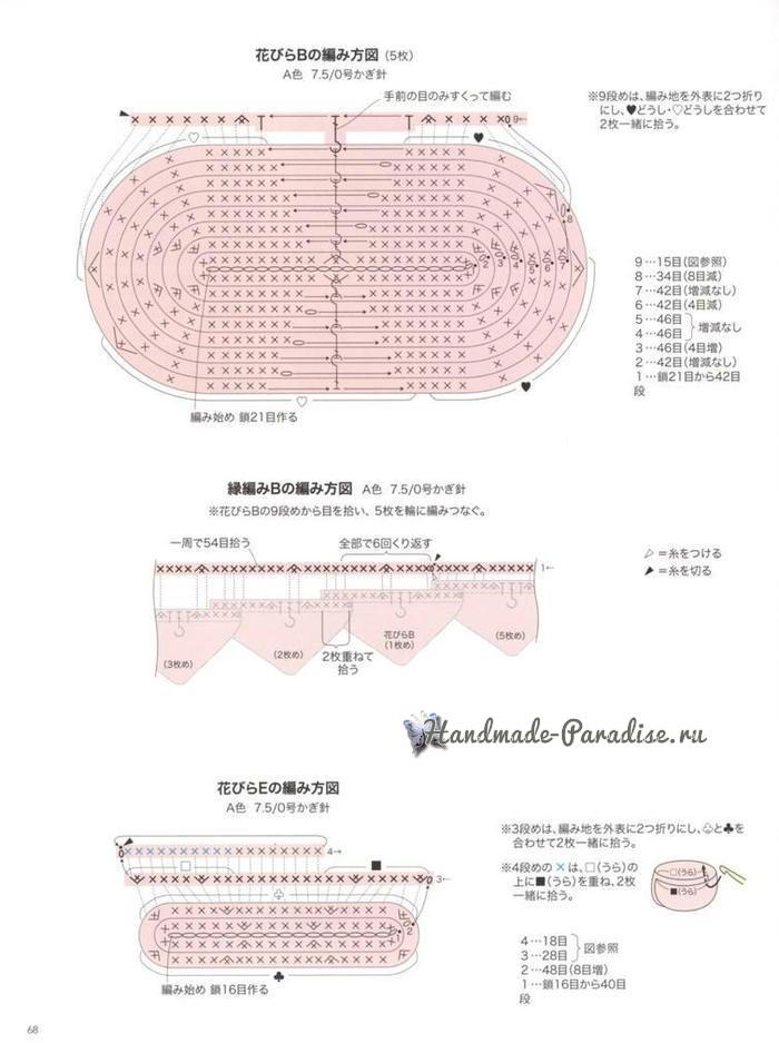 Схемы вязания подушки-сидушки «Роза» (2)