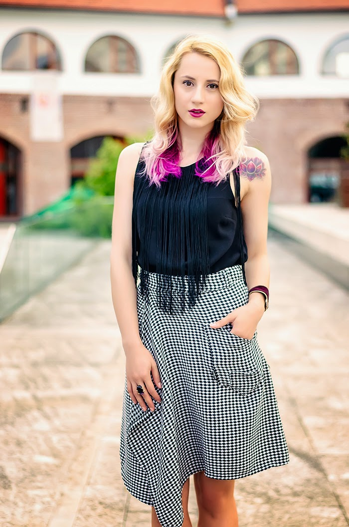 H&M fringe top thrifted houndstooth skirt