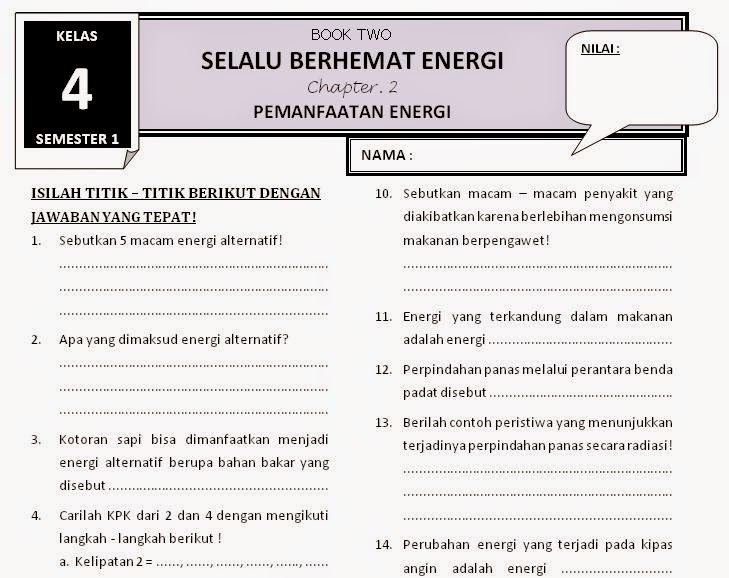 Soal Tema 2 Selalu Berhemat Energi Kelas 4 Sd Buku Tematik Kelas 4