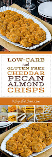 Low-Carb and Gluten-Free Cheddar Pecan Almond Crisps found on KalynsKitchen.com