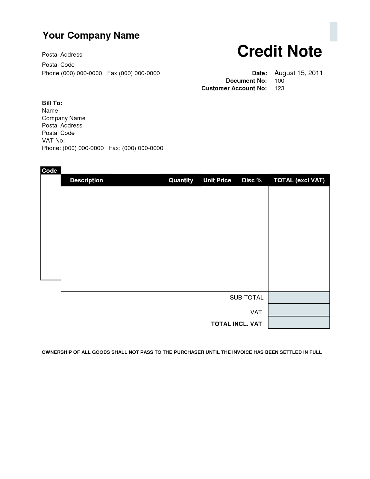 credit note templates – Debit Memo Template