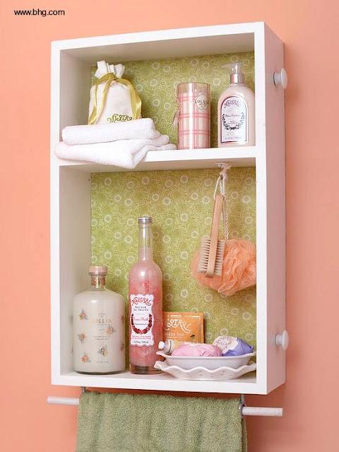 Cajón reutilizado como estantes de pared