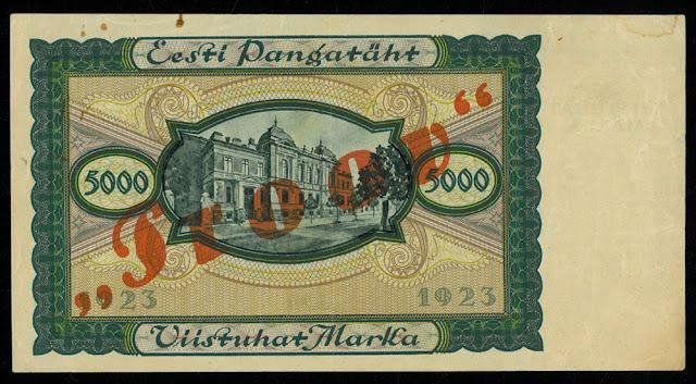 World paper money Estonia 5000 Marka banknote