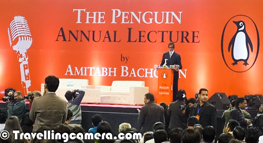 Penguin organizes annual lecture every year and some guest shares his thoughts. Last year, it was Dr A P J Abdul Kalam at India Habitat Center, New Delhi and this time Mr Amitabh Bachhan joined the stage at Thyagraj Satdium in Delhi. This Photo Journey shares some of the Mobile clicks from the evening with some details about the thoughts shared by Mr Amitabh Bachhan and how it was different from last year's evening when Dr Abdul Kalam shared his vision about the country in 2020.We reached the venue at 7:15pm and the lecture was supposed to start at 8:00pm. The most impressive part of the evening was timely execution. The event started sharp at 8pm and Mr Amitabha Bachhan joined the stage. Indian cinematic icon Amitabh Bachchan Penguin was there at Annual Lecture 2013 podium and audience of almost a thousand was eagerly waiting for him. He spoke about empowering the country`s women, Indian cinema, poetry and more. But I found that the overall speech was going here and there.. And if I compare this talk with last year's lecture by Dr Abdul Kalam. Last year's talk was very energetic and sounded more authentic.The 71 years old, looking handsome in a black formal suit, Mr Amitabh Bachhan reached the Thyagaraj Stadium and the sound of the audience`s applause took over the netball court at the facility and Big B, as humble as he is, responded by flashing a smile and folding his hands to gesture a 'Namaste'. During the speech he touched upon his memories of his father, the late legendary poet Harivansh Rai Bachchan, whose birth anniversary happened to be just two days ago on Nov 27.Past lectures were delivered by eminent personalities like writer-journalist Thomas Friedman, diplomat-writer Chris Patten, economist Amartya Sen, historian Ramachandra Guha, the Dalai Lama and former Indian president A.P.J. Abdul Kalam.Mr Amitabha Bachhan ended his lecture by reciting lines of his father's poem 'Khoon ki chhaap' (Imprints of blood). An applause followed again. After the lecture, Rajdeep Sardesai joined Mr Bachchan at the stage. I took the whole show in completely different direction and the event completely changed into another bollywood or publicity show. On top of that bollywood type questions are asked by audience except the few which were around the topic Mr Bachhan chose for the annual lecture. If I recall my memories from Dr Kalam's talk, it was seriously a very sensible dialogue between audience and the chief guest.Big B also sat down with TV host Rajdeep Sardesai and spoke about a range of things. Mr Bachhan also patiently answered some questions from the audience, for whom the icing on the cake was his recital of his father's most widely known work, 'Madhushala'.