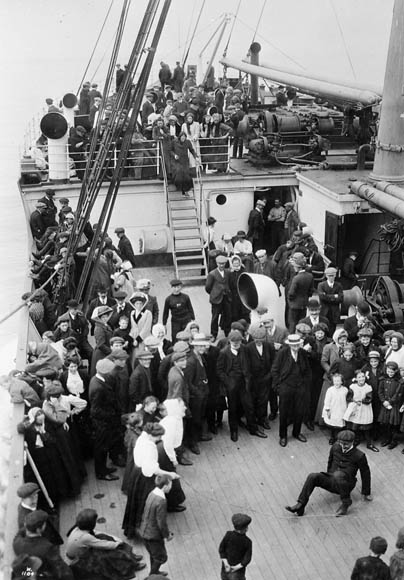 White immigrants (settlers) en route to Canada aboard S.S. Empress of Britain, c. 1911