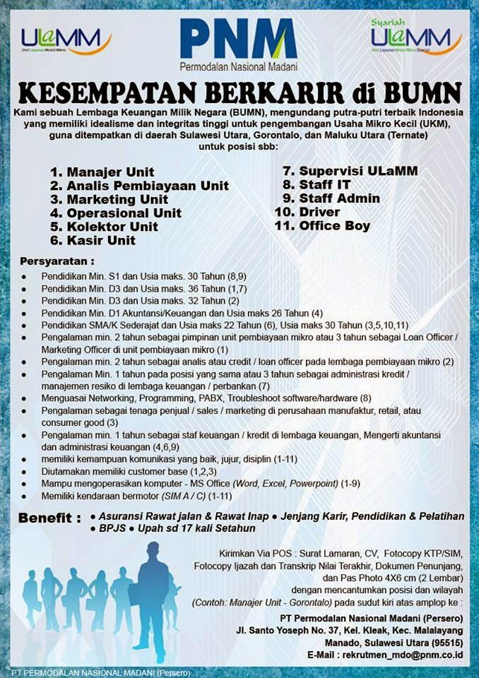Jobss Indo Lowongan Kerja Pt Pnm Permodalan Nasional Madani