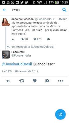 Janaina Paschoal twitter -Carmen Lúcia -renuncia do stf-supremo tribunal federal