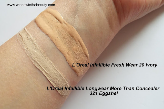L'Oreal Infallible Concealer 321 Eggshel swatches