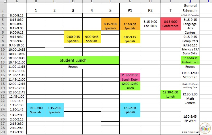 creating your class schedule for sped mrs d s corner