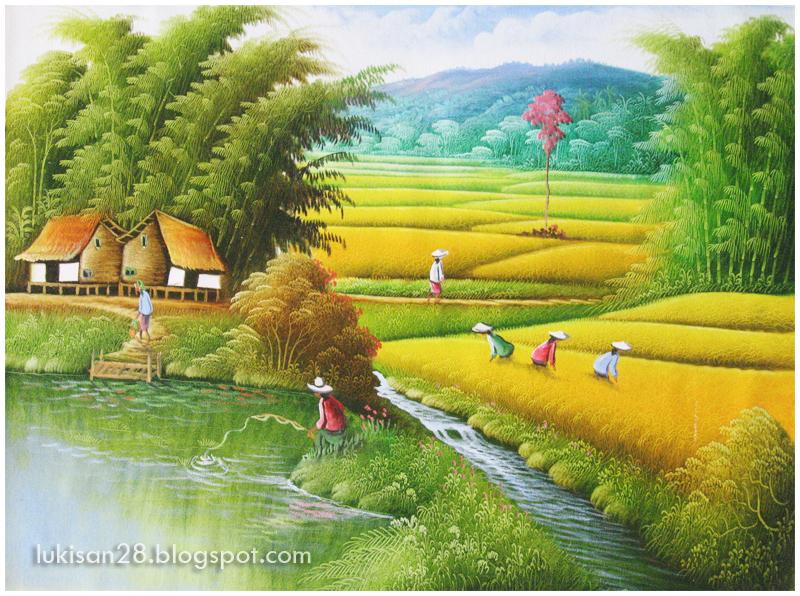 Lukisan Pemandangan Sawah Image
