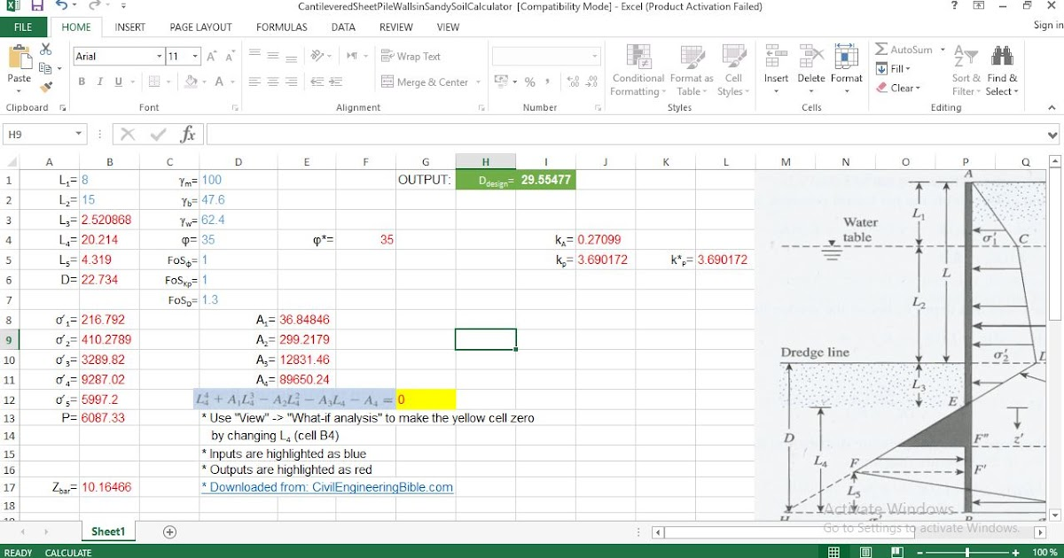 Spreadsheet Calculator Of Cantilevered Sheet Pile Wall