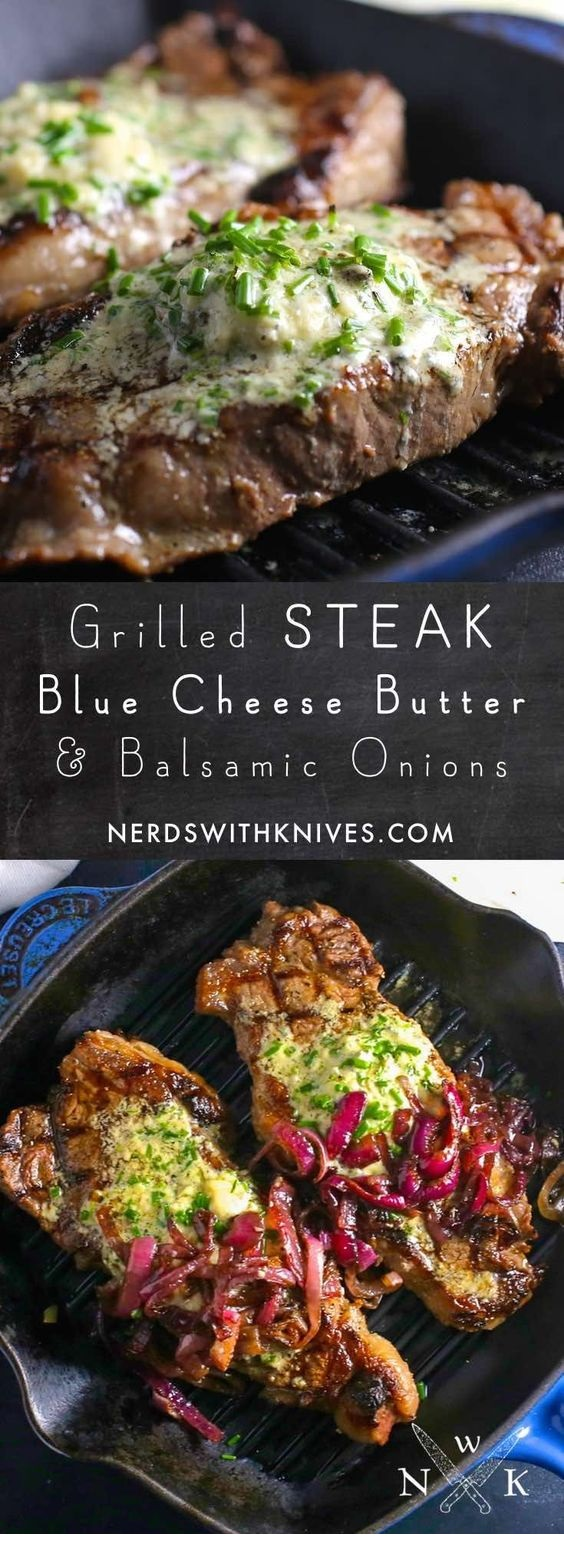Steak With Blue Cheese And Chive Compound Butter