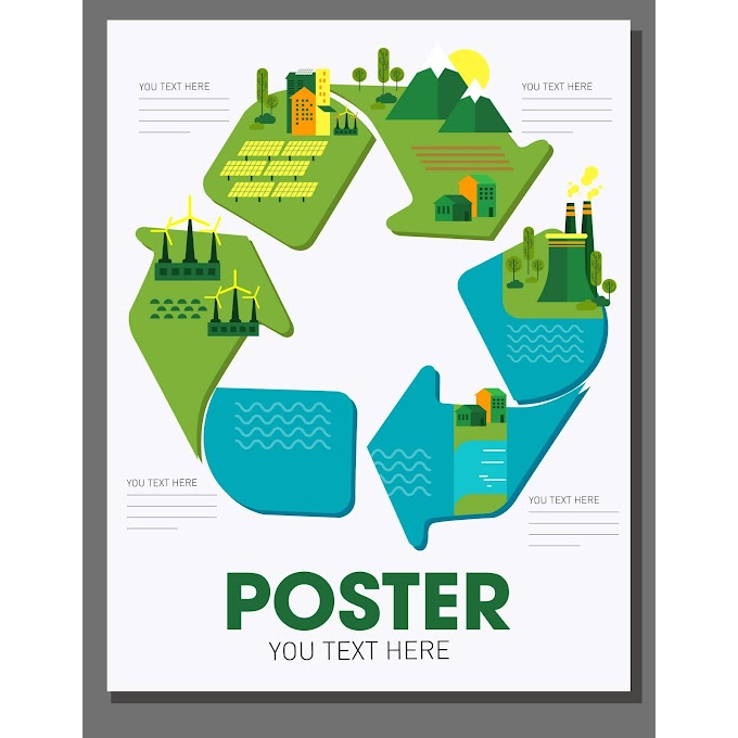 eco poster template environment elements recycle arrow