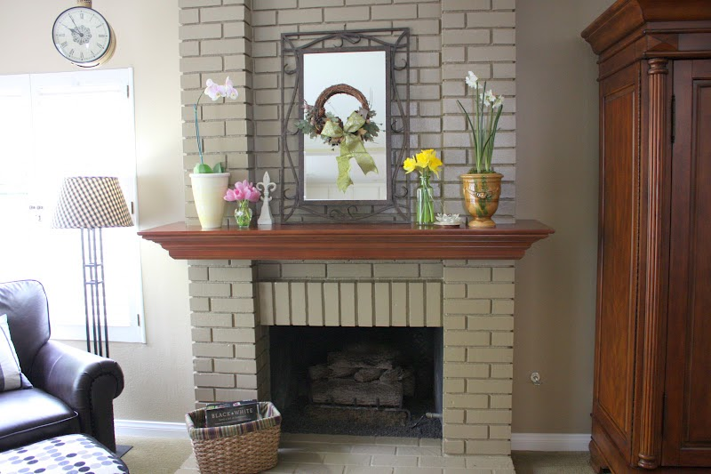 Balanced style fireplace makeover on a dime - Floor to ceiling brick fireplace makeover ...