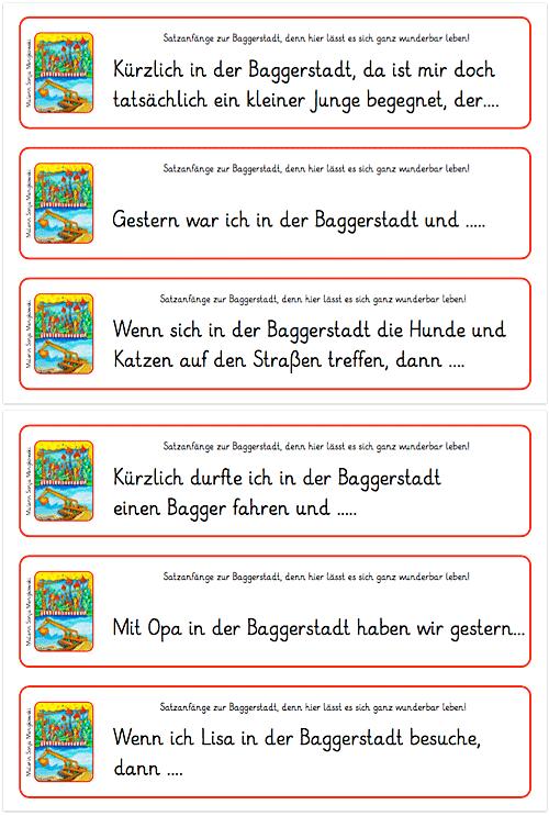 Baggerstadt - Satzanfänge