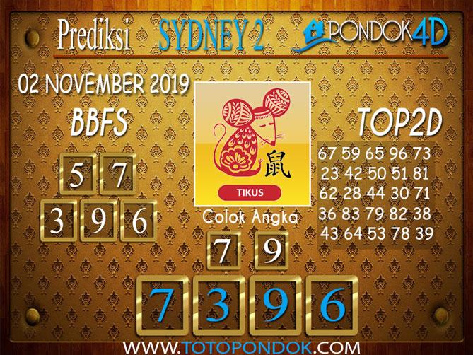 Prediksi Togel SYDNEY 2 PONDOK4D 02 NOVEMBER 2019
