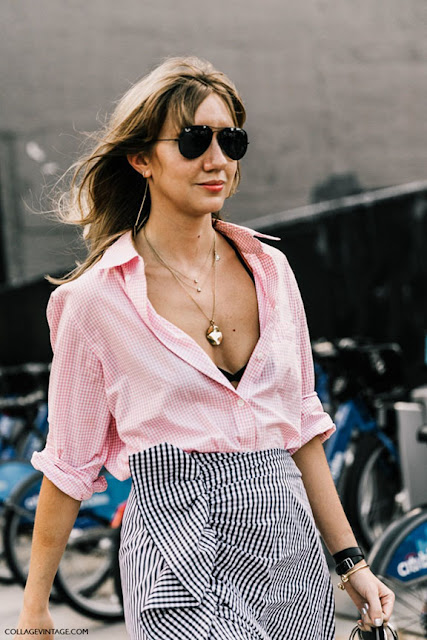 pink button up street style