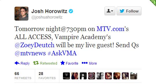 Josh horowitz interviews zoey deutch dating
