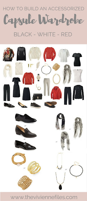 A capsule wardrobe with accessories in Black, Ivory, Russet